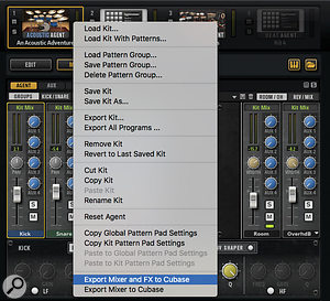 The Acoustic or Percussion Agents' mixer settings can be exported to the main Cubase MixConsole with asingle click.