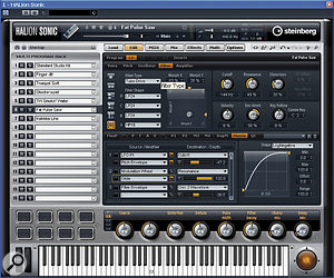 Halion Sonic's virtual  analogue synth engine. This screen shows filter settings in the top editing pane and the modulation matrix in the lower pane.