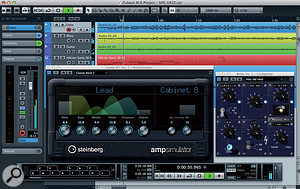 The Cubase AI arrange window with the Amp Simulator and Grungelizer plug-ins visible.