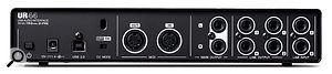 Two additional line inputs are located next to the four line outputs on the rear panel. A  further Main LR pair of line outputs carry the same signals as outputs 1–2, so that two sets of monitors can be connected. MIDI input/output is present, as well as a  class-compliant mode switch for use with iOS. Power is by means of a  12 volt external supply.