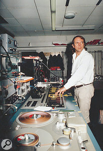 Stockhausen at work on the electronic elements of <em>Hymnen</em> in the WDR Electronic Studio, Cologne, where much of his most important work was completed.