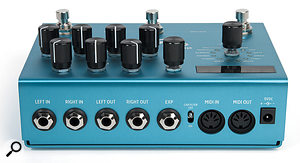 In addition to the anticipated analogue audio I/O, the Big Sky sports an expression pedal input, a cabinet emulation switch and MIDI I/O.
