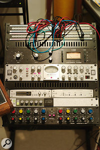 The input chain used on Madonna's Confessions On A  Dancefloor involved Price's Neve mixer, Avalon 737SP preamp, Urei compressor and Lucid A-D converter. Also visible here are a Smart Research C2 compressor and GML EQ.
