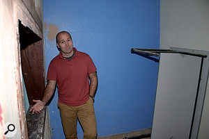 Before: The Cube's manager, Jon White, in the shower room that would soon form the heart of a recording studio.