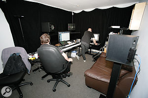 Hans' temporary composing suite at De Lane Lea studios in Soho. Ideally, the setup would have been rotated so that the speakers were firing down the room's longest dimension, but the length of cables going to the machine room, and the need for asofa at the back, meant that this wasn't practical.