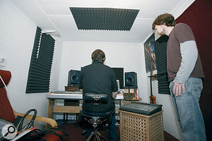 In this picture you can see how to position acoustic treatment at the 'mirror points' on the walls and ceiling around the listening position — which will tame unwanted reflections, improving both frequency response and stereo imaging.