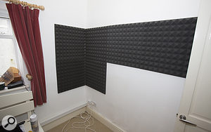 To further tame the room's acoustics, a number of Universal Acoustics foam panels were applied directly to the rear wall.