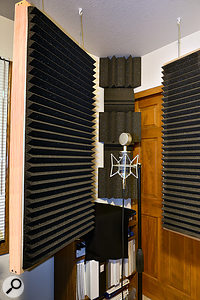 A temporary vocal booth can be created by relocating two of the hanging wall absorbers.