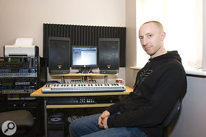 Jamie, sitting in his much-improved home studio before completing his library music project.