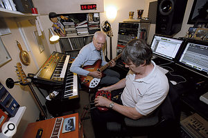 Paul White programming some guitar patches on aLine 6 Pod processor.
