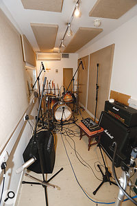 Despite having a  very small live room, Matt had managed to get a  remarkably good drum sound.