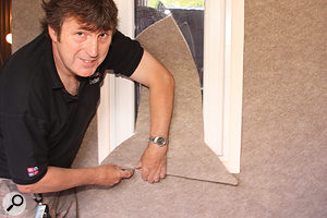 Paul used carpet for the outside of the vocal booth — but not the inside, where it would have an undesirable acoustic impact.