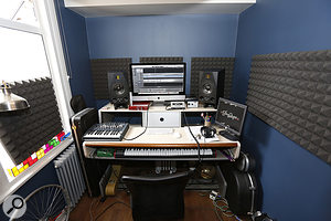 After: With the foam in place, the corrective EQ applied, the foam monitor pads swapped out for some IsoAcoustics stands, and the monitor positions adjusted, the monitoring response in the room was significantly improved.