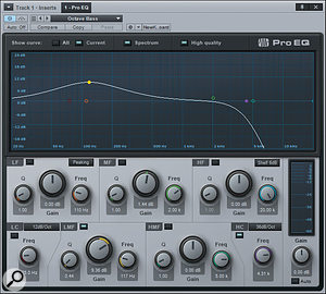 Following the octave-divided track with Studio One's Pro EQ can tailor the divided sound. This shows acurve for creating atraditional octave-divider timbre.