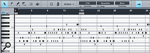 An Instrument Part in the Music editor. This is a piano-roll-type display of notes.