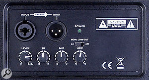 The rear panel is where you'll find the input 'combi' and output XLR sockets, as well as an input gain knob and three-band EQ section.