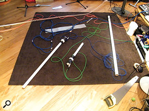 Some of Dallas Simpson's tools. The 'voice pipes' each have their own source mixes, while the saw and metal strips are 'sound objects'.
