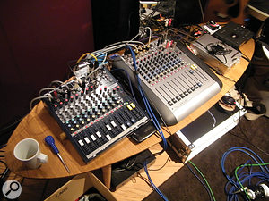 With minimal 'sound reinforcement' necessary, the main role of the two Soundcraft mixers is to distribute the individual sources among the hi-fi speakers and 'voice pipes' in such away as to create an interesting 360-degree soundstage within which Dallas Simpson can roam.
