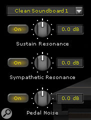 Sustain-pedal emulation is governed by three parameters: Sustain Resonance controls the degree and type of soundboard resonance; Sympathetic Resonance simulates the natural phenomenon of held notes ringing in sympathy when a harmonically related new note is struck; and Pedal Noise introduces the ugly clunk made by a real sustain pedal.