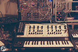 The Oberheim SEM Two Voice carries the main arpeggio line within the title sequence. Above the SEM is Michael's Eurorack rig, which was used for some of the more outlandish sounds, and sneaking in from the right is an Arturia MicroBrute.