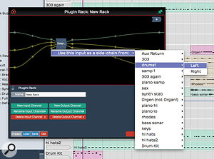Tracktion's compressor plug–in now offers a  side–chain input.