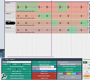 Any tracks can now be added to a  Comp Group and used with Tracktion's rather neat comp–editing tools.