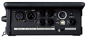 The rear panel houses the Touch 2's audio inputs and outputs, as well as a MIDI In for harmony scale detection, and a USB port that allows for MIDI and audio streaming to and from a computer.