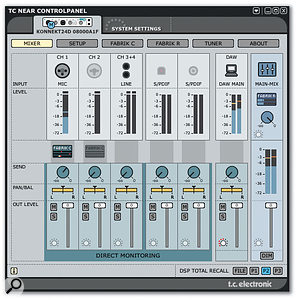 The simple Near Control Panel Mixer page.