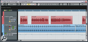 Here you can see a section of the Mix Rescue remix project from August 2009. Notice how the piano (blue) backing level is being faded up between the vocal phrases (red) to help direct the listener's ear in that direction whenever the vocal interest wanes.