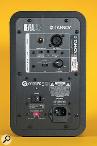 The rear panel houses the inputs, bass EQ and volume control, as well as the aux and link-out sockets, which are intended for MP3 players and the like, and allow you to send one half of the stereo signal to the other monitor.