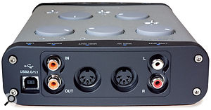 The US144's connectivity comprises (top) two XLR mic inputs, two line inputs, one switchable for high impedance, and a central headphone output jack, plus (bottom) a USB port, coaxial digital I/O, MIDI I/O, and stereo analogue outputs on phono connectors. The 122L loses the digital I/O but is otherwise similar.