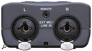 External mic and line inputs are via 'combi' XLR/jack sockets on the bottom.