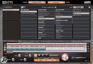 The Browser and Song Track combine to make it possible to create acomplete performance just within EZKeys.