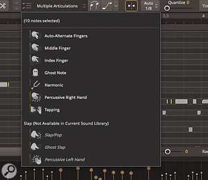 EZbass offers plenty of articulation options and, while these are already embedded in many of the grooves, you can fully edit how they are applied within the Grid Editor.