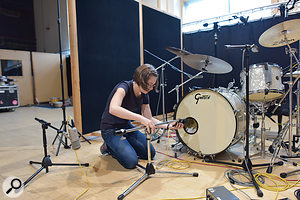 Miking up the Gretsch kit in Galaxy Studios' main hall.