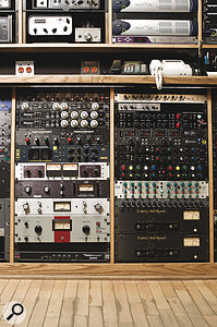 More interesting outboard from the Soma racks. Left, from top: SPL Transient Designer dynamics processor, Empirical Labs Fatso tape simulator and Distressor compressors (x2), GML compressor, Chandler/EMI TG1 and Manley ELOP limiters, Urei 1176LN, Spectrasonics Model 610 and Skibbe Electronics Red Stripe compressors, and Dbx 120A subharmonic generator; (right) AKO O8, AEA TRP, Thermionic Culture Rooster, Hardy M1, Great River MP2NV and GML 2032 (x2) preamps, GML 8200, Cranesong Ibis and SND FB14S equalisers, and EAR 660 compressors (x2).