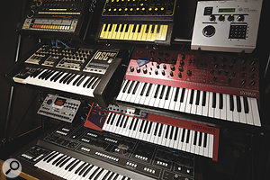 A few choice Soma instruments, including (top row) Roland TR808 drum machine, EDP Wasp and Elektron SIDstation synths; OSC OSCar and Synton Syrinx synths; Elektron Machinedrum drum machine, Clavia Nord Lead 2 and Elka Synthex synths.