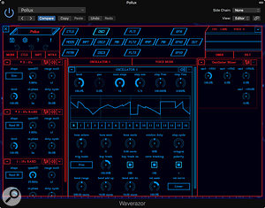 The Oscillator 1 screen: just one of many, many more editor pages.