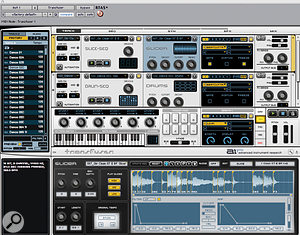The Transfuser window, with browser to the left, master section along the middle between the track modules and editing pane. Here, a guitar loop has been sliced up and the slices assigned to different keys so you can play them back in your chosen order.