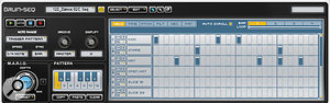 A Transfuser Drum track is controlled via MPC–style pads (above: the editing window shows the sample waveform for the selected pad) and sequenced in classic beatbox fashion (below).