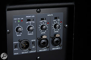 The mid/top speakers include a basic two‑channel mixer (both inputs can be set to mic or line sensitivity), as well as high‑pass filtering and a switchable 'speech' preset EQ.