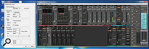 RME's driver utility (left) and TotalMix FX (right). TotalMix FX is currently displaying, in 'two row' mode, the mix that is being sent to the first pair of analogue outputs. The EQ and dynamics windows are visible on analogue input channels 1 and 2.