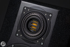 Removing the grille from the mid/high Elac driver reveals its unusual construction. The highs are handled by an AMT tweeter, while the mids are taken care of by aring-shaped diaphragm around the outside.