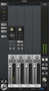 The Arrow Mixer within the Console 2.0 software showing Unity plug-in inserts.