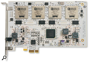 This is what all the fuss is about — the UAD2 Quad card with its four Analog Devices SHARC 21369 DSP chips.