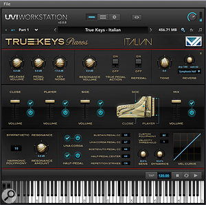 True Keys Pianos' UVI Workstation GUI contains afour-channel mixer for its three microphone positions and 'mix' samples, an elaborate array of pedal controls, and convolution reverb settings. Asecond 'multi' page (featuring eight-band parametric EQ and afull range of effects) allows the creation of multitimbral user setups.