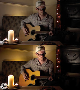 Here are before and after shots showing the application of Colorista 2 to create a warm environment. I used a Key and a Mask to isolate the yellow saturation boost on the guitar body. Using more than one instance of the plug‑in, I've added further touches, like the vignette in the top left, and the highlight near the top right.
