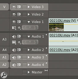 Track patching means that tracks must be selected before video and audio is dragged in.