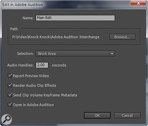When you export aPremiere video project to Audition you are given the option to add handles to the audio, and create a preview video.