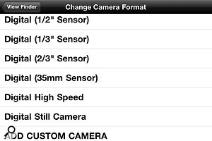 The lens selection list, or 'lens bag', allows you to choose the focal lengths you'd like to preview.